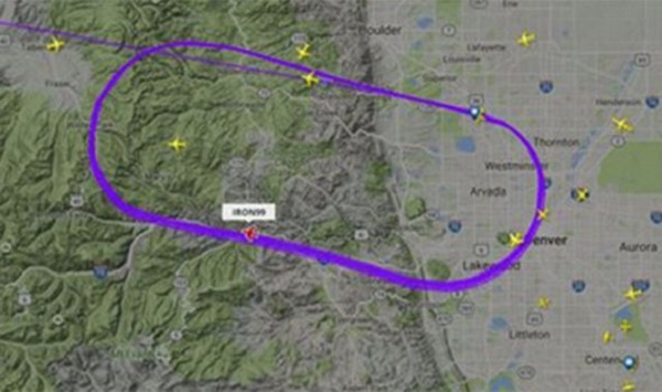 Twitter image of Doomsday plane's route over Denver
