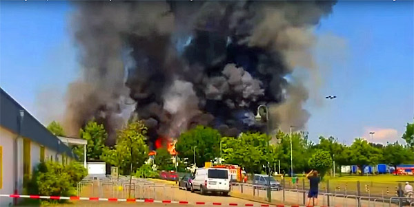 Muslim migrants set fire to a conference center in Dusseldorf, Germany, during Ramadan. German Red Cross workers say it was over a shortage of Nutella, Gummibears and chocolate (Photo: Screenshot)