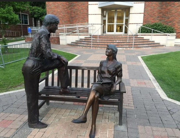 "A statue at the University of the Incarnate Word in San Antonio, Texas actually depicts two friends talking, but it gained meme status this year as ""Mansplaining: The Statue."" Photo: Ash Hernandez, via Cathy De La Cruz"