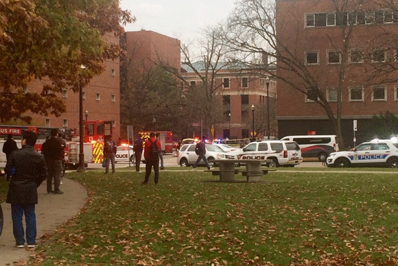The car and knife attack took place on the campus of OSU beginning shortly before 10 a.m. Monday.