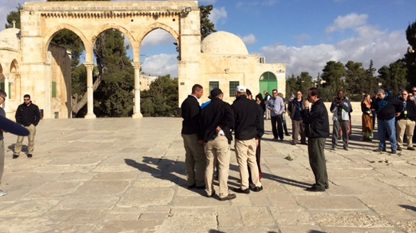 Rabbi Jonathan Cahn, WND CEO and Editor Joseph Farah and 406 Christian pilgrims are ejected from the Temple Mount for discussing Jewish history (Photo: WND)