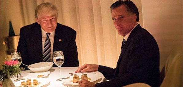 President-elect Donald Trump dines with former Gov. Mitt Romney on Nov. 29. Trump is reportedly considering Romney for secretary of state (Photo: Twitter/Taegan Goddard)