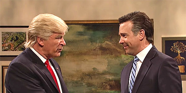 "Alec Baldwin as Donald Trump and Jason Sudeikis as Mitt Romney on NBC's ""Saturday Night Live"" (Screenshot)"