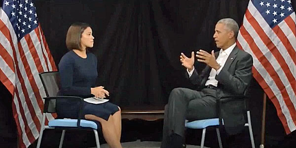 Gina Rodriguez of the YouTube channel mitu interviews Barack Obama (screenshot).
