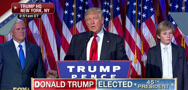 President-elect Donald Trump giving his victory speech Wednesday morning, Nov. 9, 2016
