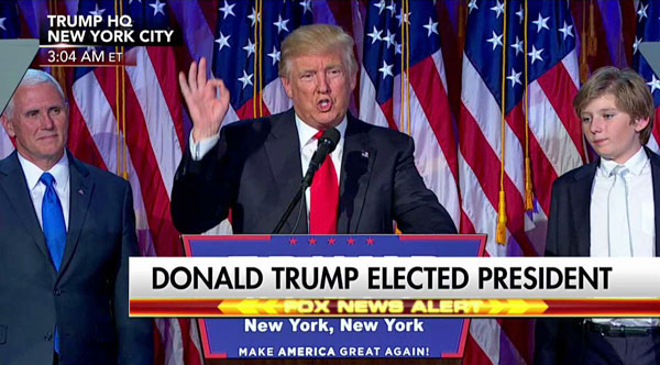 President-elect Donald Trump giving his victory speech (Twitter)