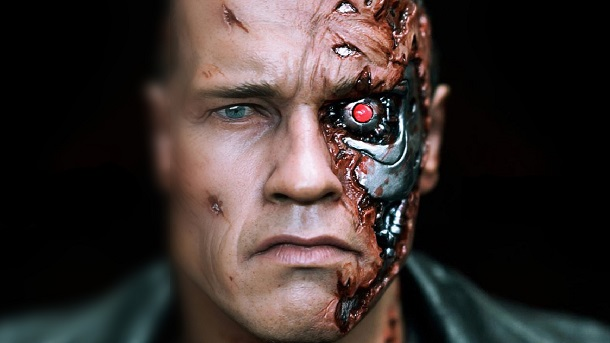 "Arnold Schwarzenegger as a robot with living tissue in ""The Terminator"""