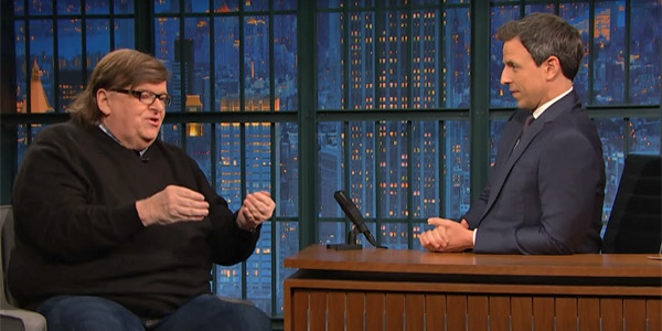 "Michael Moore was a guest on the Dec. 7 ""Late Night with Seth Meyers,"" and he predicted 'something crazy' might happen to prevent Trump from becoming president (Photo: screenshot)"