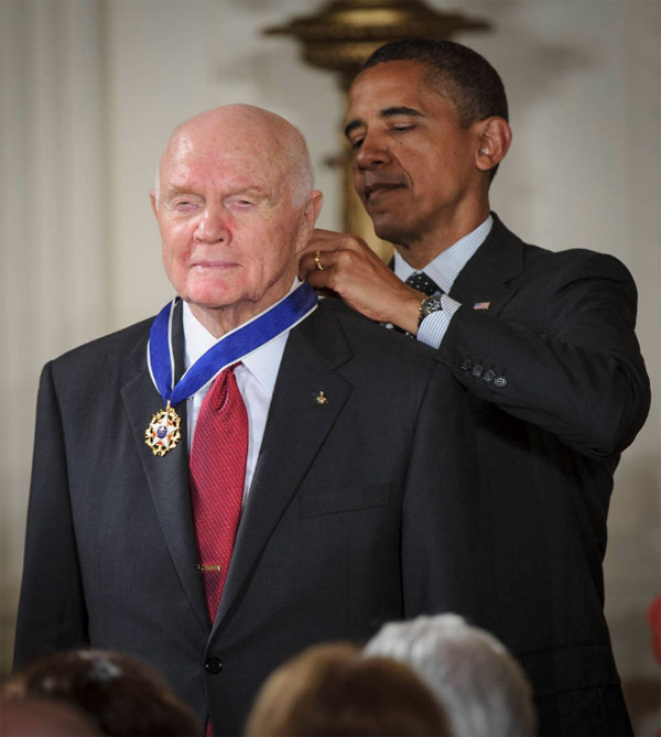 President Obama presents former NASA astronaut and U.S. Sen. John Glenn with the Presidential Medal of Freedom in 2012