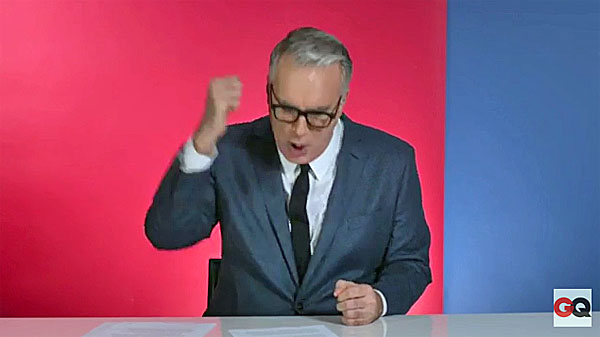 Keith Olbermann angrily pounds his fist as he urges Barack Obama to help prevent Donald Trump from assuming the presidency in 2016. (GQ video)