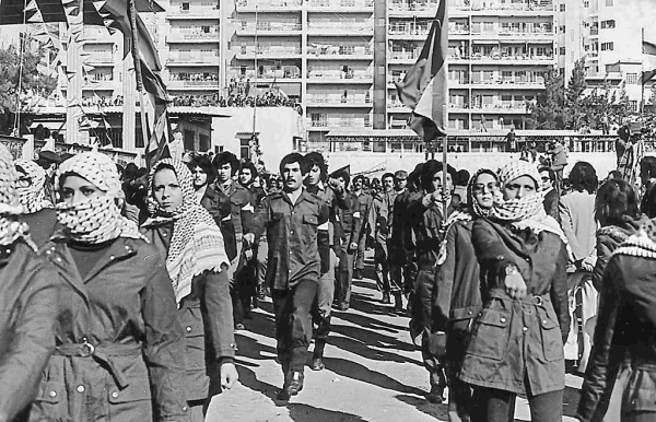 Fedayeen from Fatah in Beirut, Lebanon, 1979. Male and female they came. Photo by Tiamat & re-up by Jaakobou, Wikipedia