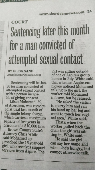 Article in the Aberdeen American News that failed to mention sex crime convict was a newly arrived refugee from Somalia.