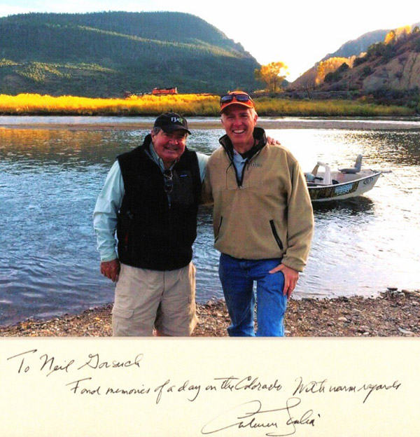 "Judge Neil Gorsuch with Justice Antonin Scalia on the Colorado River. Scalia appears to have addressed the photo to Gorsuch, writing: ""To Neil Gorsuch, Fond memories of a day on the Colorado. With warm regards, Antonin Scalia"" (Photo: Twitter/Jake Tapper)"