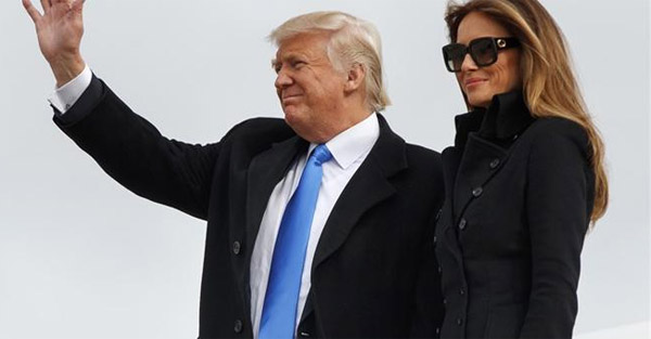 Donald Trump and his wife, Melania, arrived in Washington, D.C., on the eve of the inauguration Jan. 19