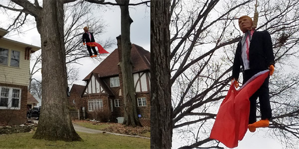 Effigy of President Donald Trump hangs from tree in Fort Wayne, Indiana (Photo: WANE-TV 15)