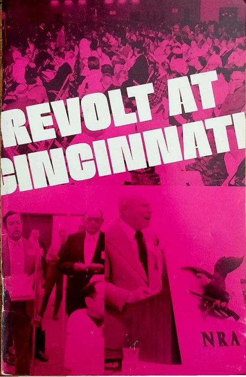"Neal Knox, Harlon Carter, and other NRA members pictured on the cover of Joe Tartaro's book, ""Revolt at Cincinnati"" describing events at the historic, 1977 NRA Members' Meeting. Image: Courtesy of Joe Tartaro, author of ""Revolt at Cincinnati"""