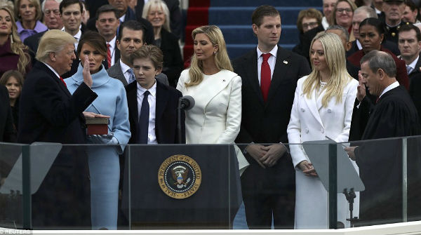 Donald Trump takes the oath of office from U.S. Supreme Court Chief Justice John Roberts