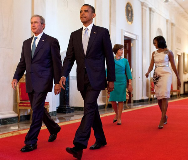Former Presidents George W. Bush and Barack Obama (White House photo)