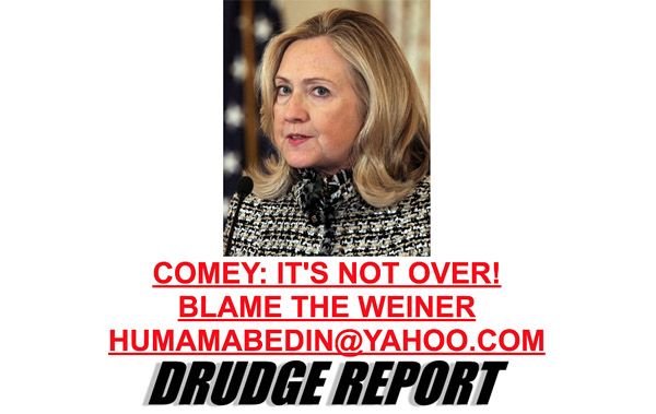 Matt Drudge posted this headline on the Drudge Report on Oct. 28, just more than a week before the 2016 election. It was on that day that FBI Director James Comey wrote a letter to congressional leaders informing them the FBI would investigate classified material in emails sent on Hillary Clinton's private email server when she was secretary of state (Photo: Screenshot)