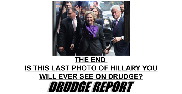Just two days after Election Day, on Nov. 10, 2016, Matt Drudge ran with this leading headline, suggesting he might never show a photo of Hillary Clinton again on his website, the Drudge Report (Photo: Screenshot)