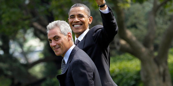 Mayor Rahm Emanuel and former President Obama