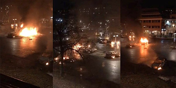 Rioting engulfed the suburbs of Stockholm, Sweden, Monday night, just two days after President Trump highlighted the country's problems with migrants (Photo: Twitter)