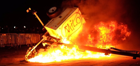 Violent protests ahead of a planned appearance at the University of California, Berkeley, in February by Milo Tiannopoulos