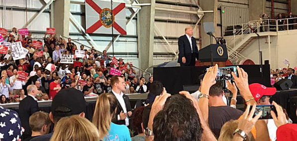 A large crowd takes photos of President Donald Trump at a rally in Melbourne, Florida, Feb. 18, 2017 (Facebook/Joel Tooley)