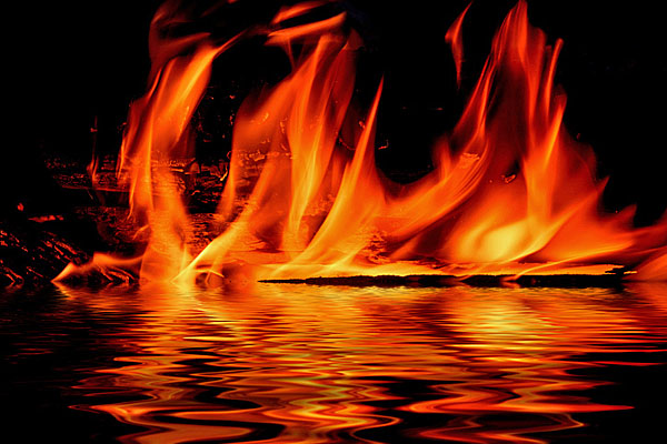 hell lake of fire gehenna flame fire water reflection