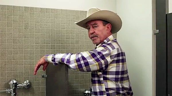 "A screenshot from a Texas ACLU video promoting its ""Pee with LGBT"" campaign"