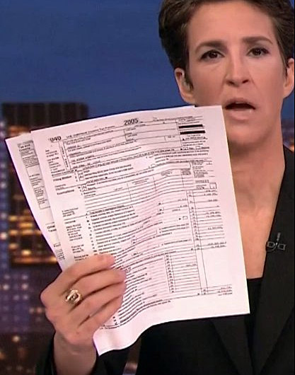 MSNBC'S Rachel Maddow claims to have part of President Trump's 2005 tax return