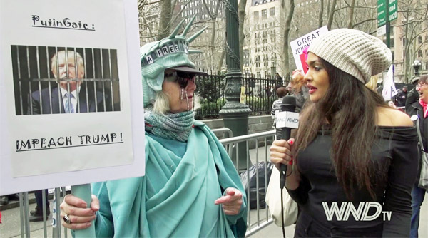 Anti-Trump protest in New York on March 25, 2017 (WND photo)