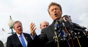 Sen. Rand Paul, R-Ky., and other members of the House Freedom Caucus hold a news conference in the District of Columbia on March 15, 2017.