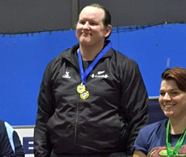 Transgender Lauren Hubbard, born a man, wins the Australian international women's competition March 19 after lifting 591 pounds (Photo: 1 News Now)