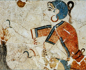 A Fresco depicting an elegantly dressed women with hoop earrings from Akrotiri, Thera (Cyclades) Greece, 1650-1625 BC