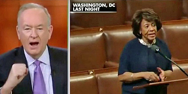 "Bill O'Reilly of Fox News takes aim at the ""James Brown wig"" he jokingly said was being worn by U.S. Rep. Maxine Waters, D-Calif."