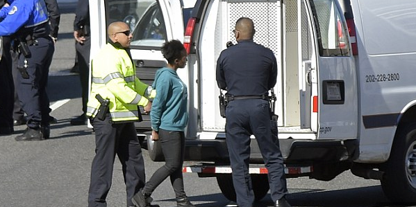 Photograph shows woman being taking into custody outside U.S. Capitol.