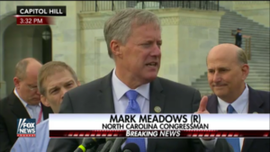 Rep. Mark Meadows, R-N.C., speaks to reporters outside the Capitol building March 7, 2017.