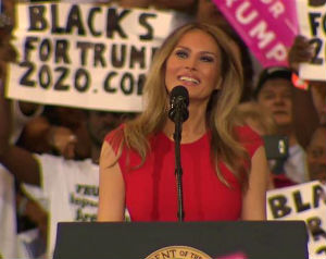 Melania Trump speaks at Melbourne, Florida, rally, Feb. 18, 2017.