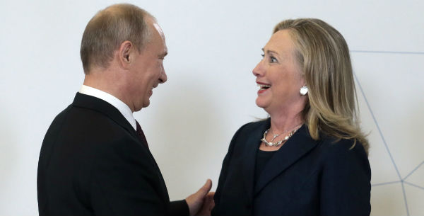 Russian President Vladimir Putin and former Secretary of State Hillary Clinton