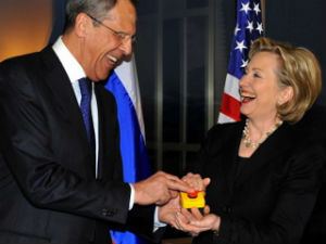 """Russian Foreign Minister Sergei Lavrov and Secretary of State Hillary Clinton """"reset"""" relations between the two countries in March 2009."""