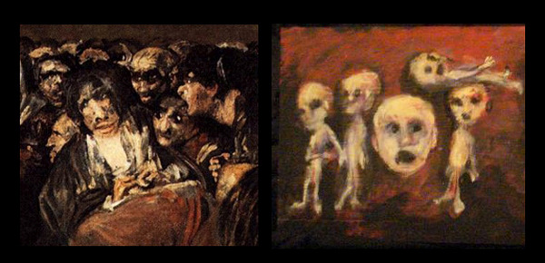 "Comparison of details: Francesco Goya's ""Witches' Sabbath"" (left) 1821-23 and Jack Larson (right), (2009)"