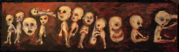 """Not Viable"" by Jack Larson – posted digitally 2009Acrylic on 18"" X 48"" board"