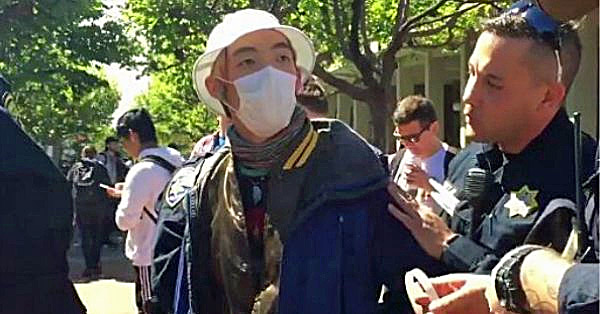 Berkeley protester arrested for refusing to remove his mask at April 27 demonstration