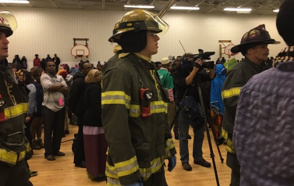 Firefighters shut down Democratic caucus meeting in Minneapolis on Tuesday, April 2, 2017. Photo/Faiza Mahamud, Twitter.