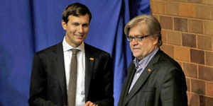 President Trump's son-in-law and senior adviser Jared Kushner (left) with Trump chief strategist Steve Bannon (right) (Photo: Twitter)