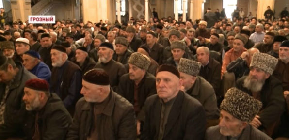 Muslims gather at the central mosque in Grozny, Chechnya, April 3 to discuss action against a newspaper that reported mass persecution of homosexuals by Chechen Muslims