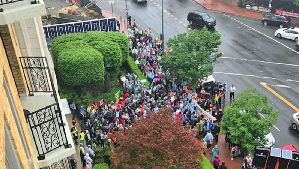 Protest at Heritage Foundation offices on Capitol Hill April 25, 2017