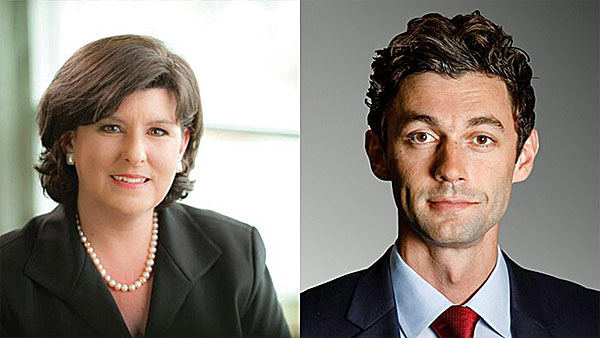 Karen Handel, left, is running against Democrat Jon Ossoff to fill a House seat vacated by Tom Price, who left to take a position in the Trump administration.