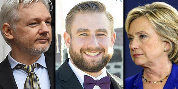 WikiLeaks' Julian Assange (left), murdered DNC staffer Seth Rich (middle) and Hillary Clinton (right)